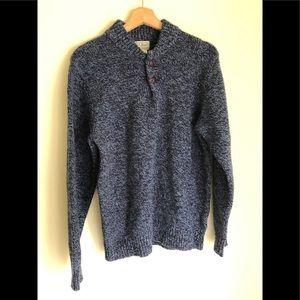 LL Bean Men 1/4 Button 100% Wool Pullover Sweater
